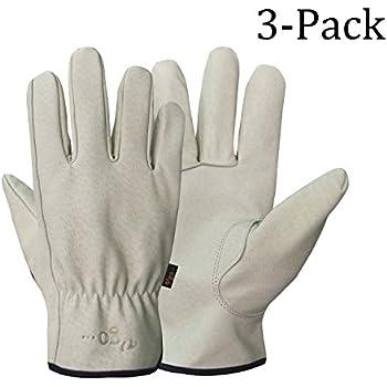 Vgo Glove Men's Pigskin Leather Work Gloves(3-Pairs)(Size:X-Large)
