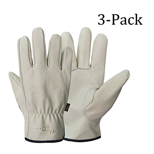 Iii Leather (Vgo Glove Men's Pigskin Leather Work Gloves, Drivers Gloves, Premium Washable Leather(3-Pairs)(Size:Large))