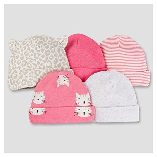 Gerber Toddler Bib - Gerber Baby Girls' 5 Pack Caps (Kitty)