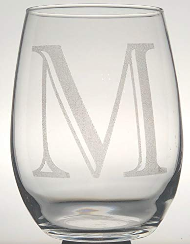 1pc Stemless Wine Glasses, Monogrammed Stemware, Personalized, Etched Glasses, Letter M
