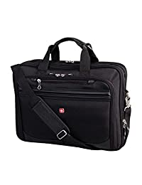 Swiss Gear International Carry-On Size Laptop Bag with Portable Pocket Charger - Fits 13-Inch to 17.3 inch Laptop, Black