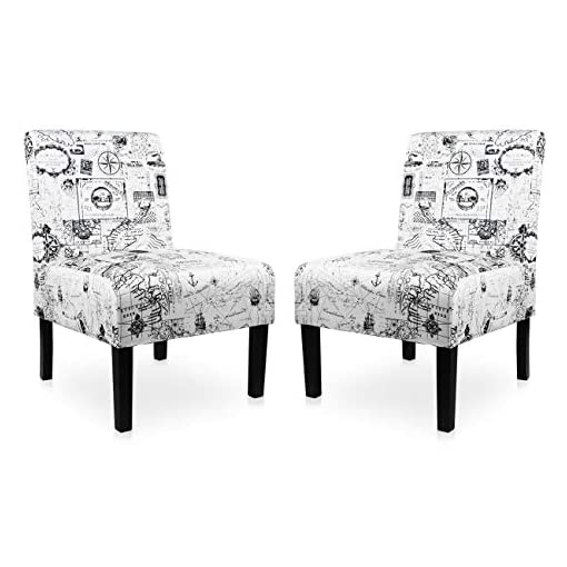 Living Room Modern Fabric Armless Accent Chair Set of 2 Decorative Slipper Chair Vanity Chair for Bedroom Desk, Corner Side Chair… modern accent chairs