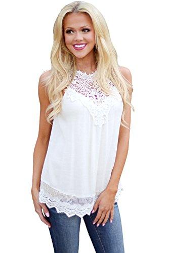 Neuf femmes Blanc sans manches Crochet Courroie Fixation Débardeur Club Wear TOPS Tenue décontractée Vêtements Taille L UK 12EU 40