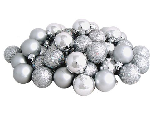 Sea Star Silver Christmas Tree Ball Ornaments Mini Shatterproof Satin Shiny and Glitter Finish Bulb Christmas Ornaments (Silver, 21pcs)]()
