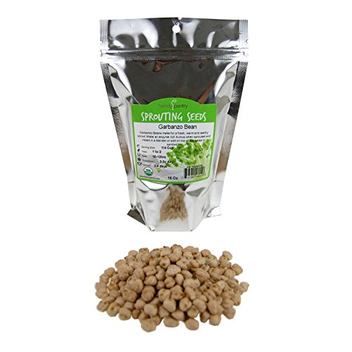Dried Garbanzo Beans- Organic Sprouting Seeds - 1 Lbs - Handy Pantry Brand - Dry Garbonzo Bean / Seeds - For Planting, Gardening, Hummus, Cooking, Food Storage, Sprouts Chick Peas Hummus