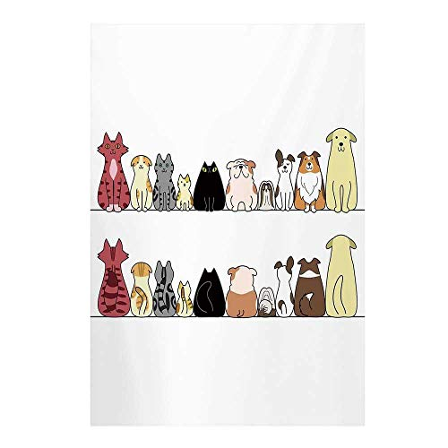Kids Stylish Backdrop,Cats and Dogs Collie Calico Labrador Scottish Shorthair Tabby Shih Tzu Pet Lovers Art Print Decorative for Photography,59