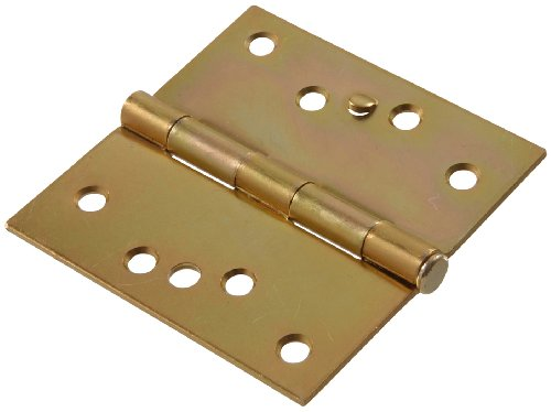 """The Hillman Group The Hillman Group 852598 4"""" Security Stud Hinge - Square Corner - Full Mortise - Zinc & Yellow Dichromate Finish 1-Pack"""