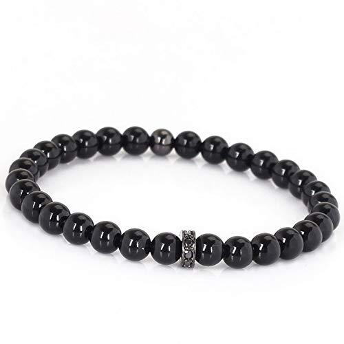 (Mikash Fashion Mens 6MM Black Onyx Micro Pave CZ Spacer Yogo Beaded Stretch Bracelet | Model BRCLT - 9579 |)
