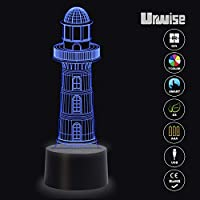 3D Illusion Night Light Touch Table Desk Lamp, 7 Colors Optical USB LED Nightlight 3717 by Urwise