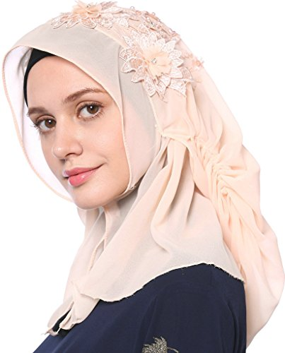 YI HENG MEI Women's Modest Muslim Islamic Soft 3D Flower Rhinestones Wedding Hijab with Buttons,Light Pink by YI HENG MEI