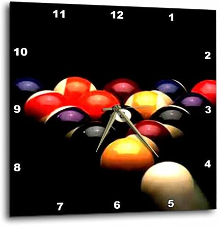 3dRose DPP_719_3 Billiards Pool-Wall Clock, 15-inch, Multicolor