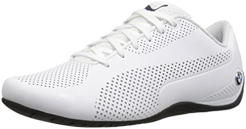 (PUMA Men's BMW MS Drift CAT 5 Ultra Walking Shoe, White-Team Blue-High Risk Red, 7.5 M US)