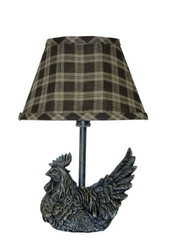 (AHS Lighting L341C-UP1 Mini Rooster Plaid Shade Lamp, 5