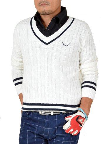 に関してオンスのために【コモンゴルフ】 COMON GOLF チルデン Vネック ゴルフ コットン セーター CG-ST547