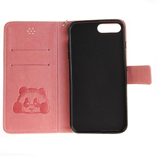 Für Apple iPhone 7 Plus (5,5 Zoll) Tasche ZeWoo® Ledertasche Kunstleder Brieftasche Hülle PU Leder Schutzhülle Case Cover - TX023 / Panda (Rosa)