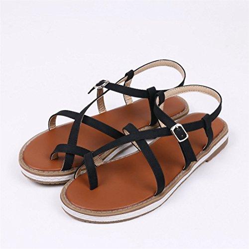 Mujer Verano Black Plana del Primavera Zapatos Planas pie Gran Tamaño Dedo AIKAKA Sandalias de de qTW4xEg