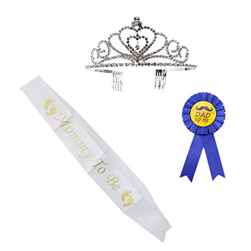 by Shower Party Favors Decorations Kit Rhinestone Tiara Crown + Mommy to Be Sash + Dad to Be Pin ()