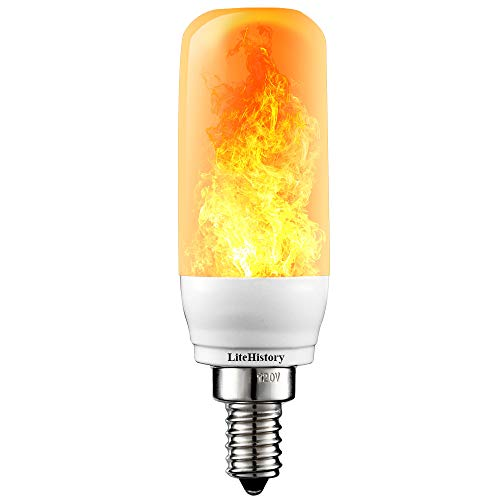 3Mode E12 LED Flame Bulb Candelabra fire Light Bulb 3W Flickering Light Bulbs for Home 1Pack
