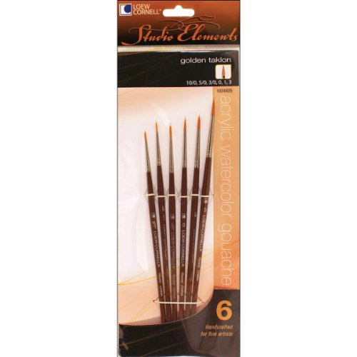 Loew-Cornell 1024925 Studio Elements Golden Taklon Short Handle Round Brush Set (Cornell Golden Taklon Brush)