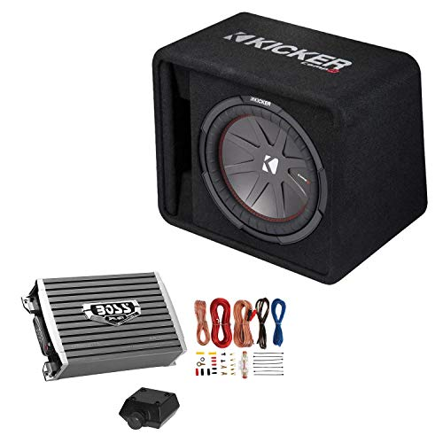 Kicker 12 Inch 1000W Subwoofer Box + 1500W Mono Amplifier w/Remote & Wiring Kit (1500 Watt Kicker Amp)