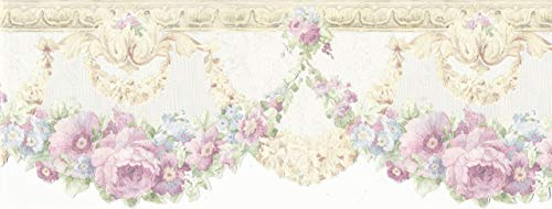 Wallpaper Border Cream Silk Satin Pink Blue Floral Rose Swag Die Cut Bottom Edge - Floral Die Cut Wallpaper Border