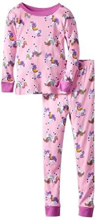 New Jammies Big Girls'  Organic Pajama Pretty Ponies, Pink, 7