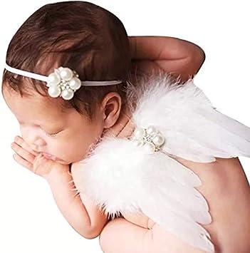 thematys Set de ángeles para bebés y recién Nacidos en 4 Colores Diferentes - Diadema y alas Fotos y sesiones fotográficas (Blanco)