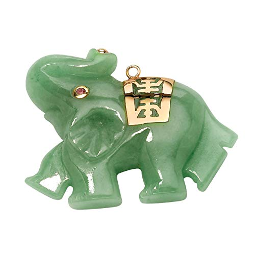 (Green Jade Pink Genuine Sapphire Accent 14k Yellow Gold Lucky Elephant Charm Pendant)
