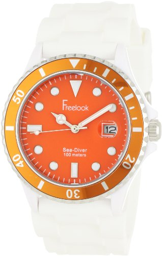 - Freelook Men's HA1433-7H Sea Diver Jelly White Silicone Band with Orange Dial Watch