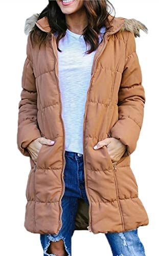 Hooded EKU Faux Down Yellow Women's Puffer Jackets Casual Fur Coat Overcoat YqZr6wY7x