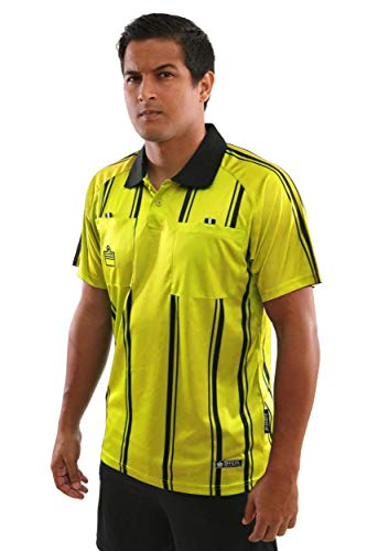 Admiral Short Sleeve Pro Soccer Referee Jersey, Gold/Black, Adult Small