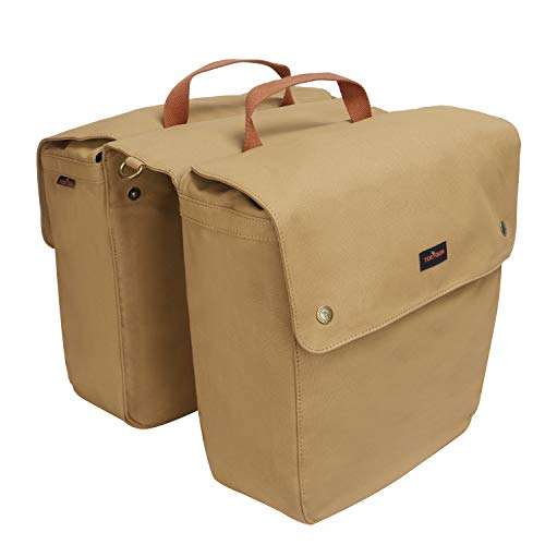 (Tourbon Canvas Bike Panniers Bicycle Rear Rack Bag Roll-up Shoulder Bag)