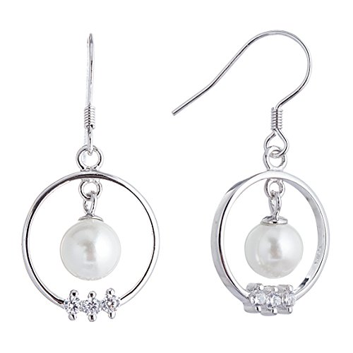 Adstones Sterling Silver Vintage Round Drop Earrings for Women with White Freshwater Cultured Pearl (Pearl Silver Freshwater Mounting Sterling)
