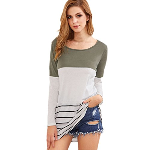ABASSKY Women Lace Back Color Block Spliced Striped Shirts (L, White)
