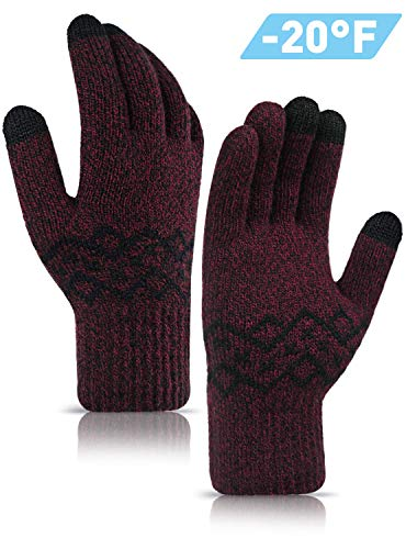 TRENDOUX Touch Screen Gloves, Winter Glove Men Women - Driving Texting Smartphone - Elastic Cuff - Thickened Stretchy Material - Thermal Lining - Windproof Warm Cold Weather Glove - Black & Red - L