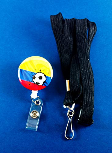 Columbia Soccer White Badge Reel with Safety Lanyard