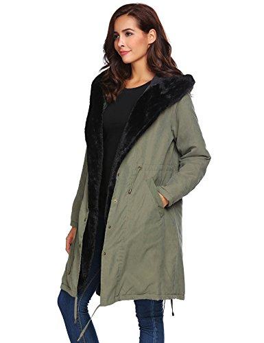 - Soteer Women Thicken Warm Winter Coat Hood Parka Long Jacket Overcoat Army Green M
