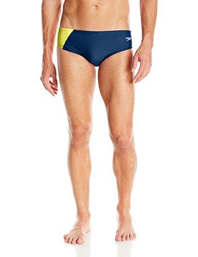 Speedo Men's PowerFLEX Eco Revolve Splice Brief Swimsuit, Navy/Gold, ()