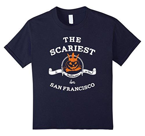 Kids The Scariest Pumpkin In San Francisco Halloween T-Shirt 12 Navy