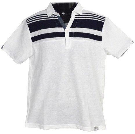 Clack (クラック) ポロシャツ 半袖 ボーダー スキッパーポロ フェイクレイヤード 襟 トップス ゴルフ 春 夏 秋 メンズ