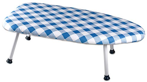(Collapsible Tabletop Ironing Board - Folding Legs and Padded Scorch Resistant Washable Cover. Easy to Transport and Store in Small Spaces. Convenient for College Dorm, Studio Apartments and Traveling.)