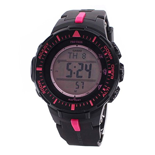 Casio Men's PRG300-1A4DR Pro Trek Triple Sensor Tough Solar Digital Display Quartz Black Watch ...