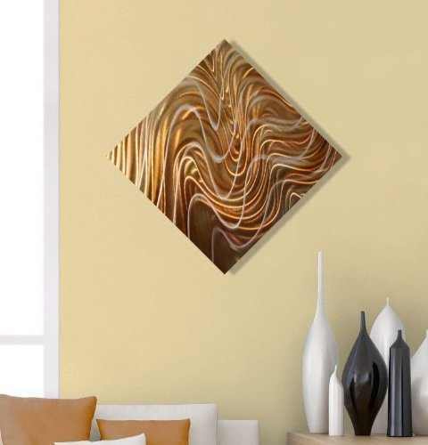 Contemporary Copper, Silver, & Gold Metal Wall Art Accent - Abstract Modern Hand-made Home Decor Wall Art Painting - Exquisite Dream By Jon Allen