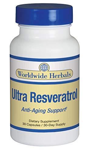 Worldwide Herbals | Ultra Resveratrol | Anti-Aging Support Formula | Low Blood Pressure | Improve Cognitive Function | Increase Longevity | Herbal Dietary Supplement | 30 Day (Longevity Anti Aging)