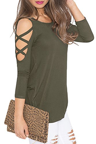 Casual Solid Out Cut (Womens Autumn Criss Cross Casual Blouse Cold Shoulder Cut Out Shirts Long Sleeve Solid Color Tunic Tops Olive XL)