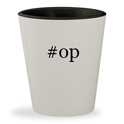 #op - Hashtag White Outer & Black Inner Ceramic 1.5oz Shot Glass