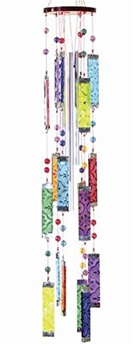 Glass Wind Chimes Rainbow Multi Color Bars with Beads