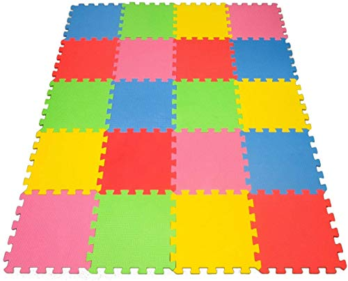 Angels 20 XLarge Foam Mats Toy ideal Gift, Colorful Tiles Multi Use, Create & Build A Safe PLay Area Interlocking Puzzle eva Non-Toxic Floor for Children Toddler Infant Kids Baby Room & Yard Superyard