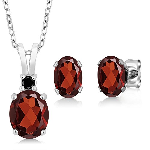 3.27 Ct Oval Red Garnet 925 Sterling Silver Pendant Earrings Set (Silver Pendant Set Earrings)