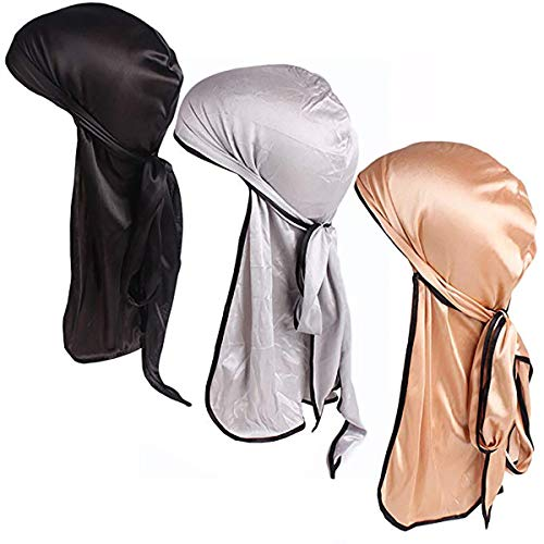Century Star Satin Silk Head Wrap Durag Long Tail Beanies for Men Women Headwraps Cap 3pcs Black&Gold&Silver